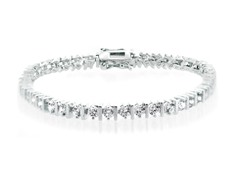 Fine Silver Plated CZ Bar Tennis Bracelet