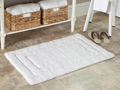 Plush 100% Cotton Bath Mat-White-2 Sizes