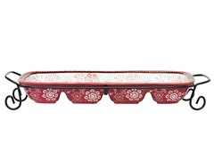 "Napa 18"" 4-Section Serve Dish Burgundy"