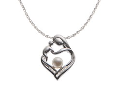 Sterling Silver Diamond & Pearl Mother/Child Pendant