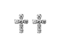 CZ Sterling Silver Cross Earrings