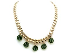 Emerald Circle Crystal Pave Cuban Chain Necklace