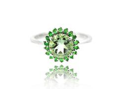 SS Genuine Green Amethyst & Tsavorite Ring