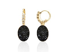 Onyx Druzy Crystal CZ Round Drop Huggie Earrings