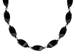 "Black Agate Twist Bead 18"" Necklace"