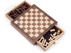 Elegant Inlaid Wood Chess Cabinet w/Staunton Chessmen