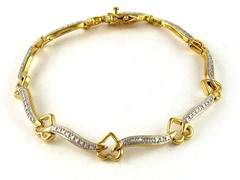 Gold Plated SS Diamond Accent Heartlink Bracelet