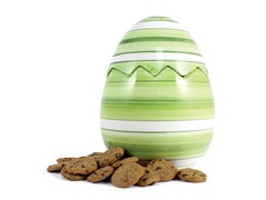 Green Easter Egg Cookie Jar with 2 8oz Choc Chip Coolers