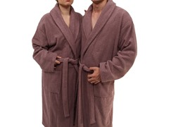 Unisex Herringbone Weave Bathrobe-Sugar Plum
