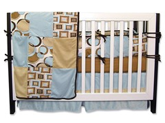 Bubbles: Teal Crib Bedding Set- 4 Piece