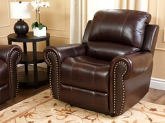 Thompson Leather Recliner Dk Burgundy