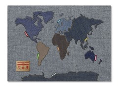 Denim World Map Canvas Art