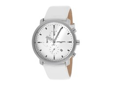 Men's White Leather Chronograph