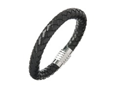 Thick Black Braided Leather Bracelet