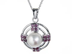 Silver Necklace w/ Pearl & Rubies