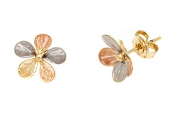 18K GP Three Tone Textured Flower Stud