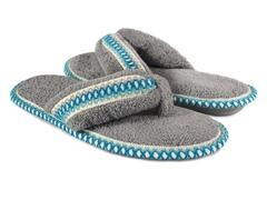 Muk Luks Darlene Micro Chenille Thong Slippers, Grey