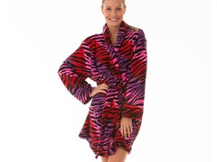 Multi Color Fluffy Lounge Robe, Red