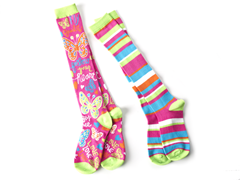 Butterflies/Stripes Knee Socks (2 Pair)