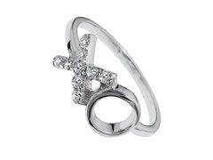 Sterling Silver and CZ XO Ring
