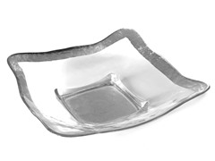 "Square Bowl 12"" Silver or Gold Rim"