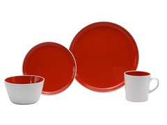 16 pc Red Color Burst Dinner Set