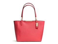 Coach Madison East/West Leather Tote -Light Gold/Red