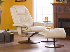 Taupe Bonded Leather Recliner & Ottoman