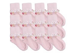 12-Pr Girls Flowers Charm Socks
