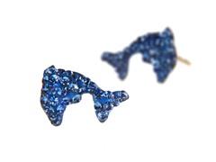 10kt Gold & Swarovski Dolphin Earring