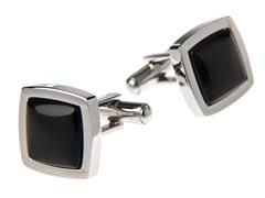 Brushed SS & Genuine Onyx Square Cufflinks