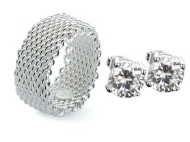 Sterling Silver Mesh Ring and Swarovski Stud Earring Set- Pick Size