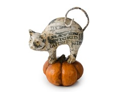 Paper Mache Cat on Pumpkin