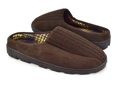 Men's Ribbed Scuff with Berber Lining, Brown