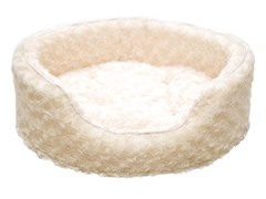 PAW Snuggle Round Comfy Fur Pet Bed - Cream