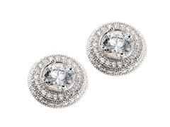 Sterling Silver CZ Halo Earring, Large