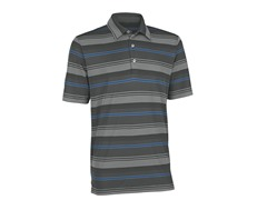 Performance Ombre Stripe Golf Shirt - Grey/Black
