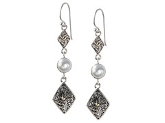 18k Gold Double Drop Mabe Pearl Earrings