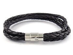3 Tier Braided Leather Bracelet, Brown