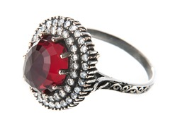 SS Otantic Oval Ruby Hydro Genuine Semi-Precious Gemstone CZ Ring