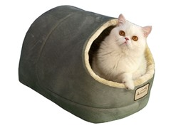 Cave Shape Pet Bed - Sage Green & Beige