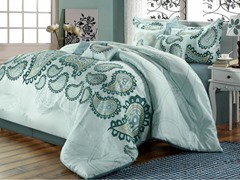 Taj 8Pc Set-Aqua-Queen