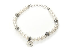 Freshwater Pearl Bracelet with Mom Charm