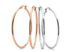 2-Pack Rose Gold Plated Hoop Earrings