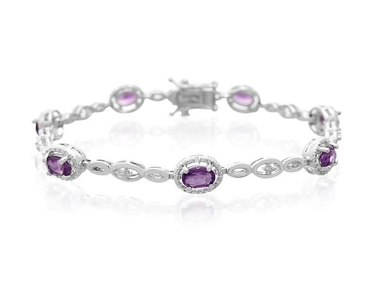 Adoriana 3CT Oval Shape Amethyst and Halo Diamond Bracelet