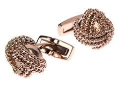 Polished 14K Rose Gold Plated SS Knot Cufflinks