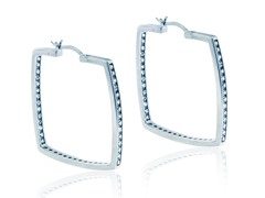 "SS Simulated Diamond 1.6"" Eternity Inside Out Square Hoop"