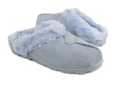 Women's Faux Suede Clog with Fur Lining, Light Blue