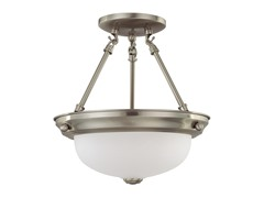 "2-Light 11"" Semi-Flush, Brushed Nickel"