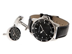 Men's Watch, Cufflink Set, Black Dial
